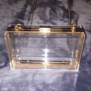 Handbags - Clear Pocketbook with Rose Gold Chain
